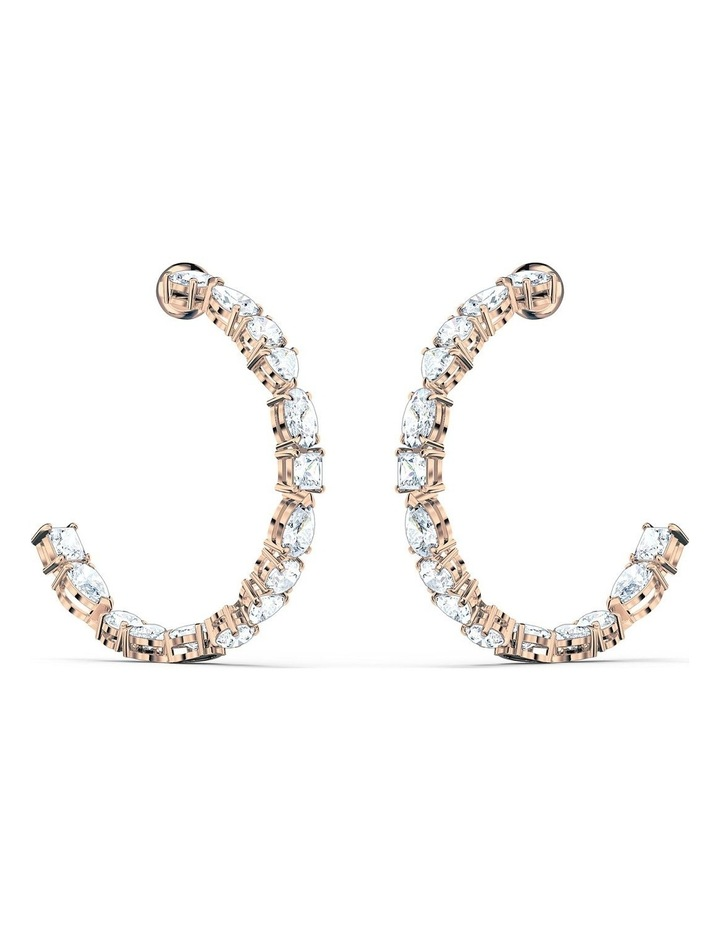 Tennis Deluxe Mixed Hoop Pierced Earrings - White - Rose-gold Tone Plated image 1