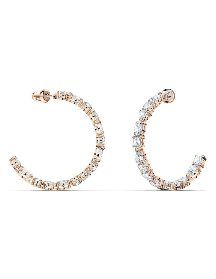 Tennis Deluxe Mixed Hoop Pierced Earrings - White - Rose-gold Tone Plated image 2