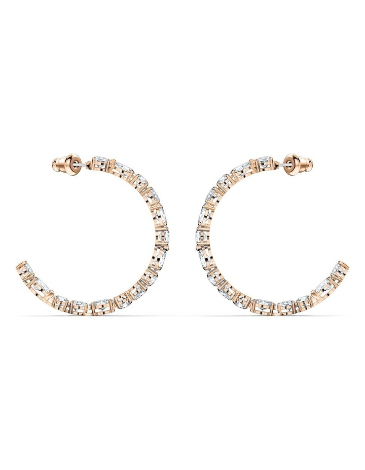 Tennis Deluxe Mixed Hoop Pierced Earrings - White - Rose-gold Tone Plated image 3