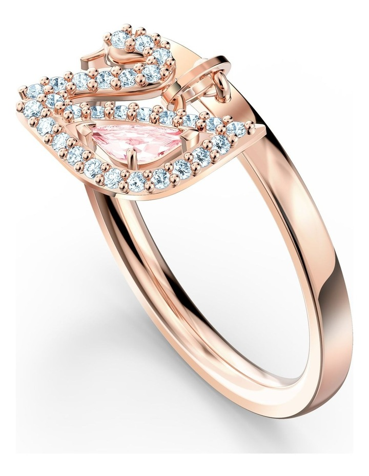 Dazzling Swan Ring - Pink - Rose-gold Tone Plated 55mm image 2