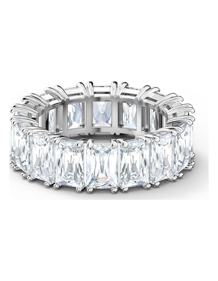 Vittore Wide Ring - White - Rhodium Plated 55mm image 1