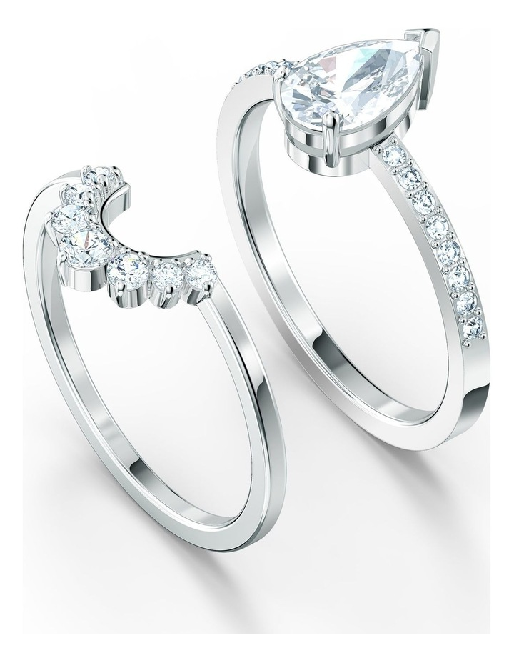 Attract Pear Ring Set - White - Rhodium Plated 55mm image 2