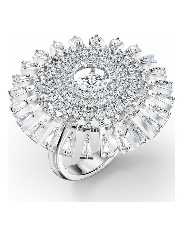 Sparkling Dance Dial Up Ring - White - Rhodium Plated 55mm image 1