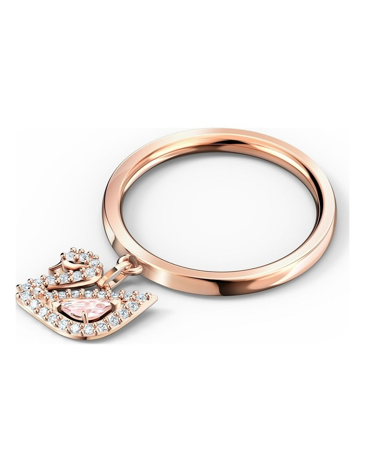 Dazzling Swan Ring - Pink - Rose-gold Tone Plated 52mm image 3