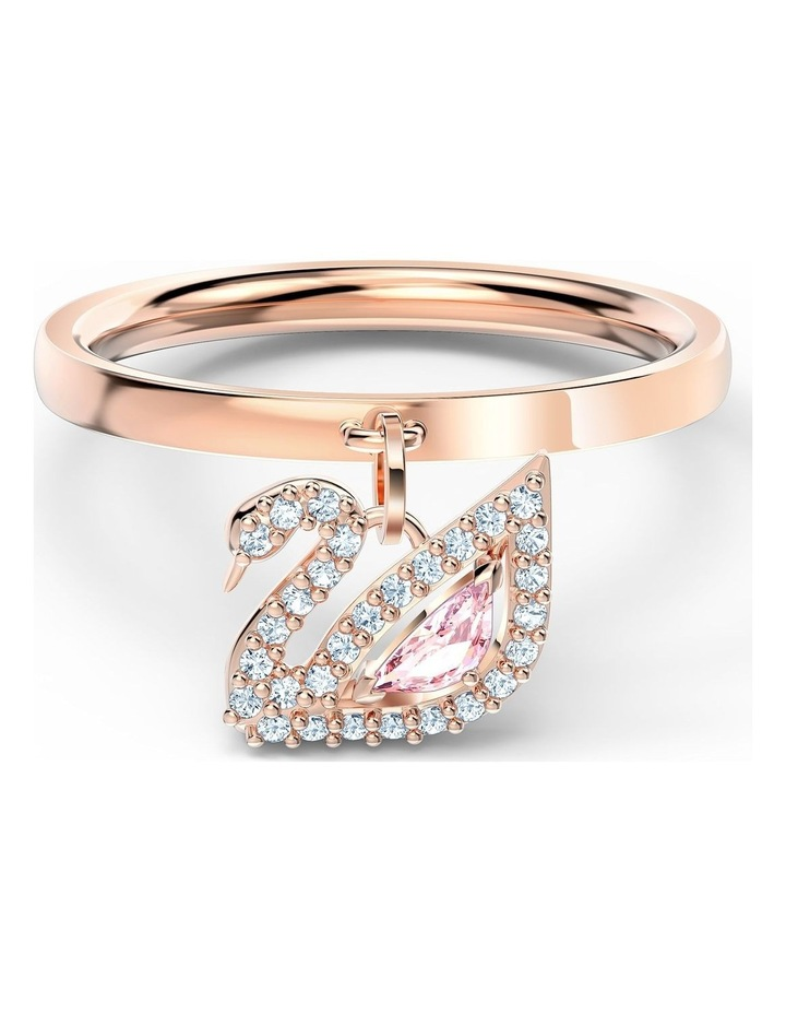 Dazzling Swan Ring - Pink - Rose-gold Tone Plated 60mm image 1