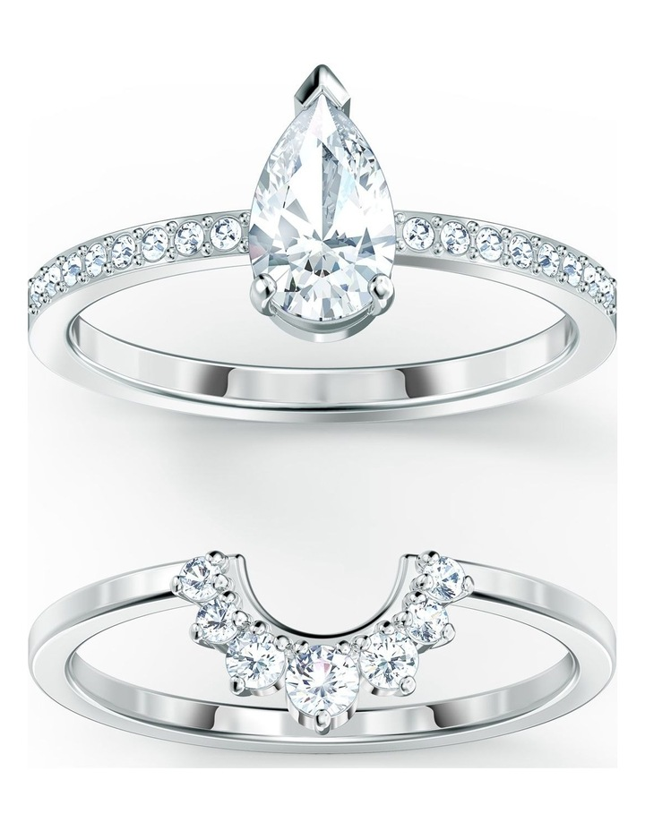 Attract Pear Ring Set - White - Rhodium Plated 58mm image 1