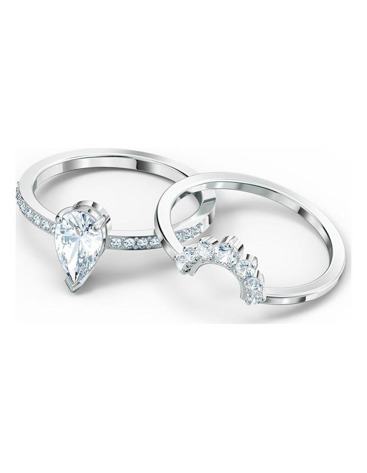 Attract Pear Ring Set - White - Rhodium Plated 58mm image 3