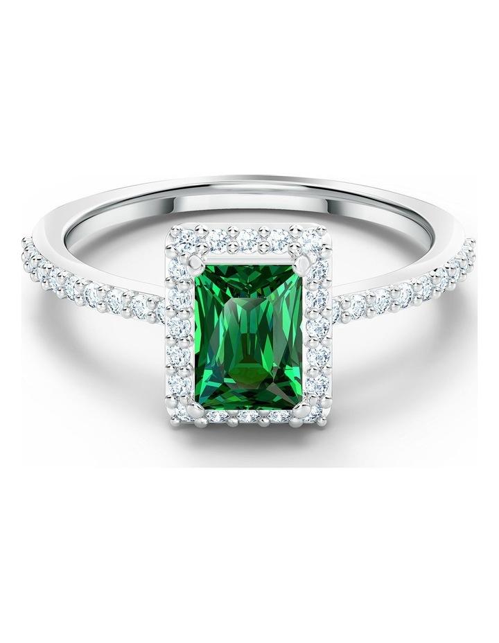 Angelic Rectangular Ring - Green - Rhodium Plated 58mm image 1