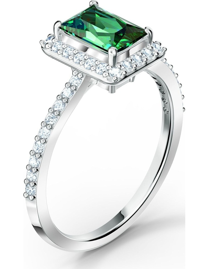 Angelic Rectangular Ring - Green - Rhodium Plated 58mm image 3