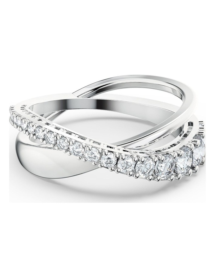 Twist Rows Ring - White - Rhodium Plated 52mm image 1