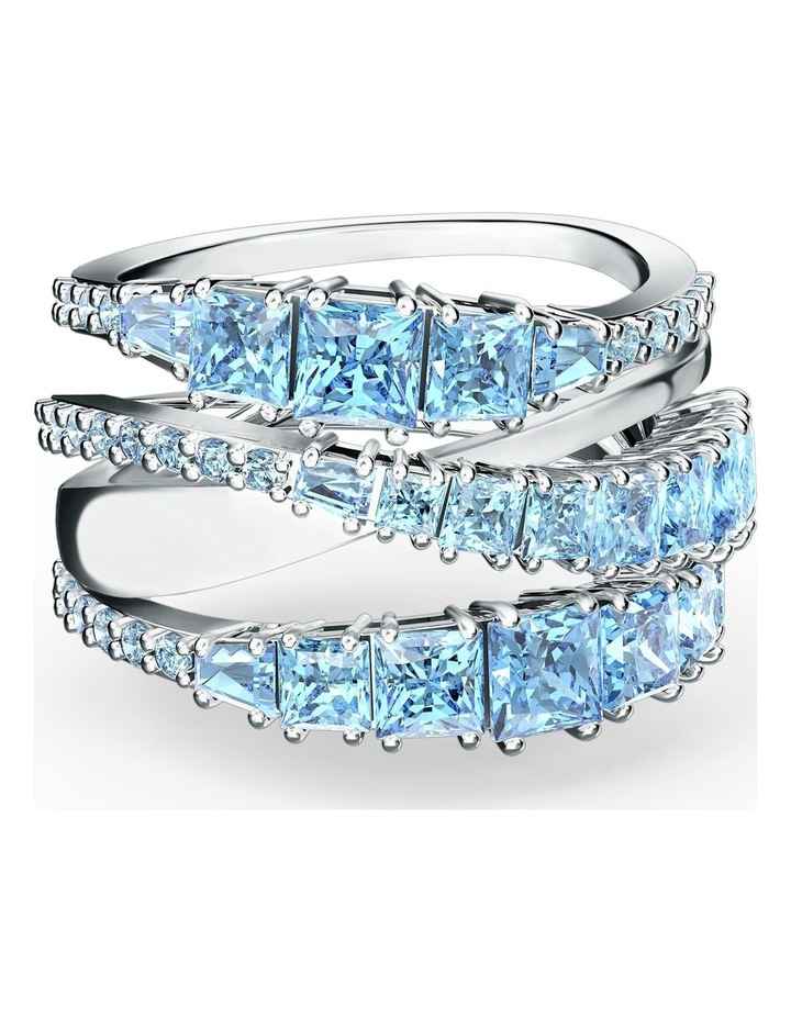 Twist Wrap Ring - Blue - Rhodium Plated 52mm image 1