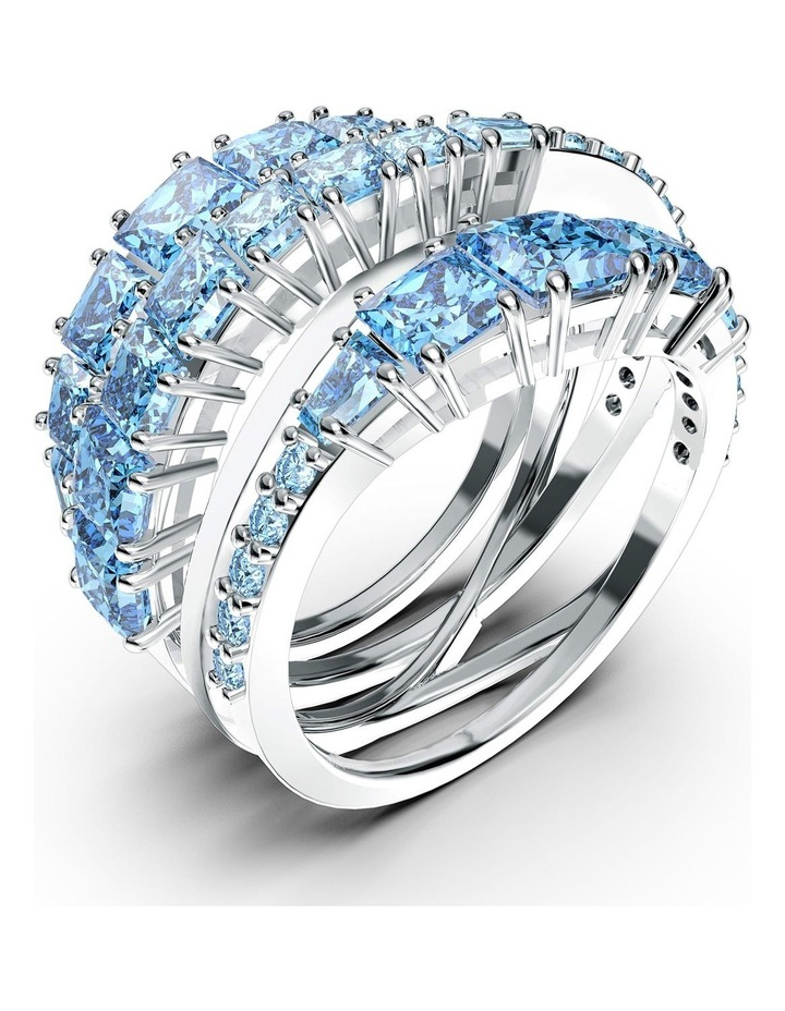 Twist Wrap Ring - Blue - Rhodium Plated 52mm image 3