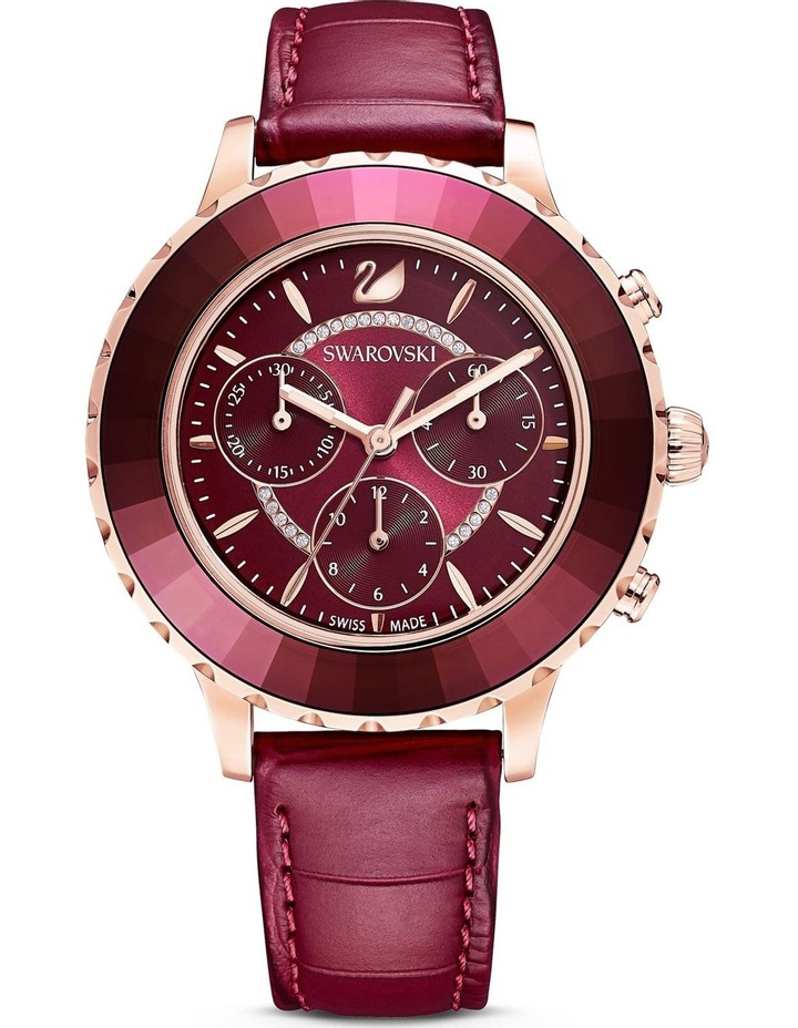 Octea Lux Chrono Watch - Leather Strap - Red - Rose-gold Tone Pvd image 1