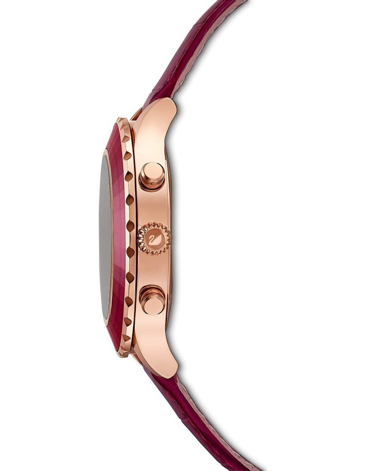 Octea Lux Chrono Watch - Leather Strap - Red - Rose-gold Tone Pvd image 2