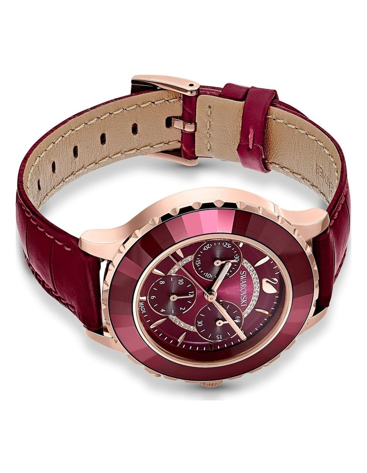 Octea Lux Chrono Watch - Leather Strap - Red - Rose-gold Tone Pvd image 3
