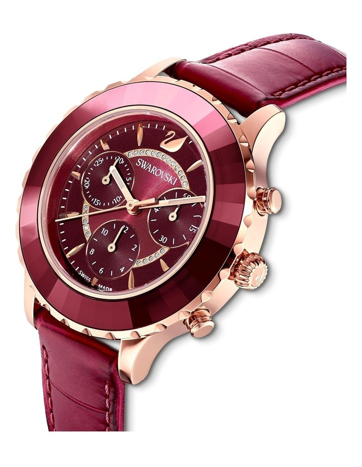 Octea Lux Chrono Watch - Leather Strap - Red - Rose-gold Tone Pvd image 4