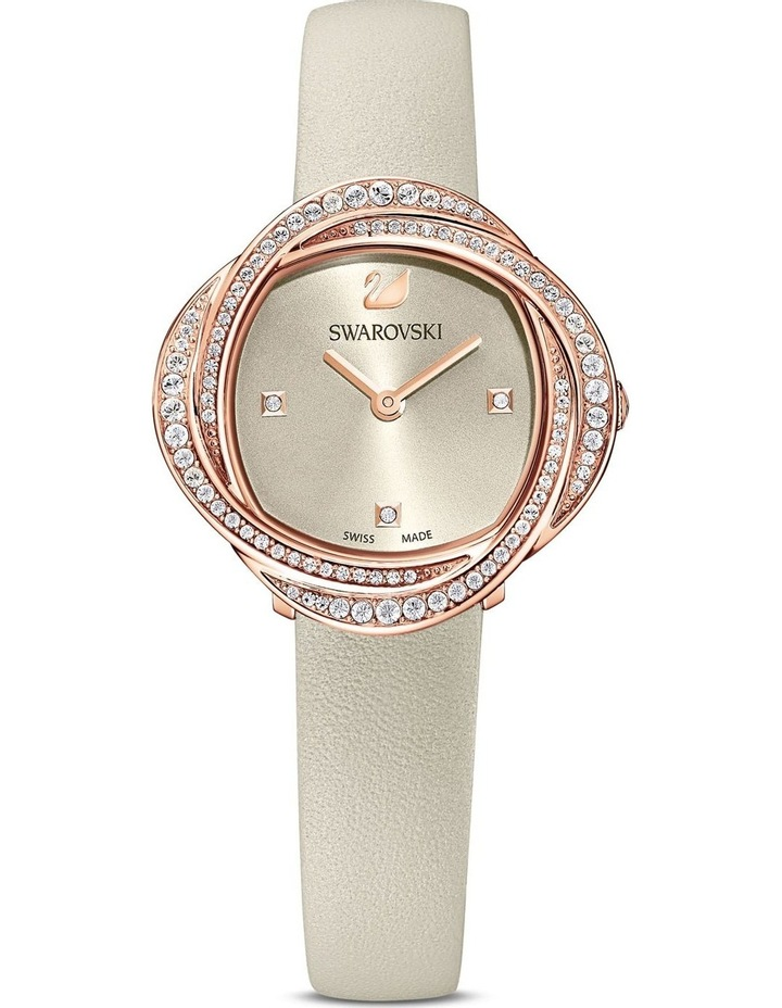 Crystal Flower Gray Leather Luxury Watch image 1