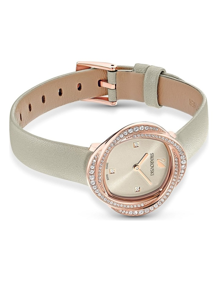 Crystal Flower Gray Leather Luxury Watch image 3