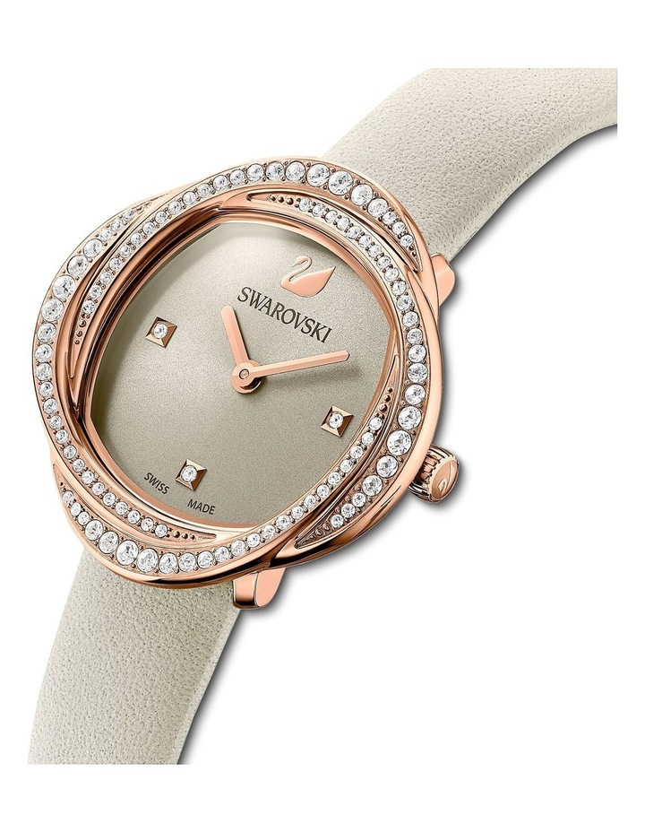 Crystal Flower Gray Leather Luxury Watch image 4