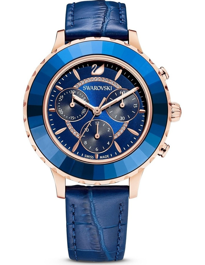 Octea Lux Chrono Watch - Leather Strap - Blue - Rose-gold Tone Pvd image 1