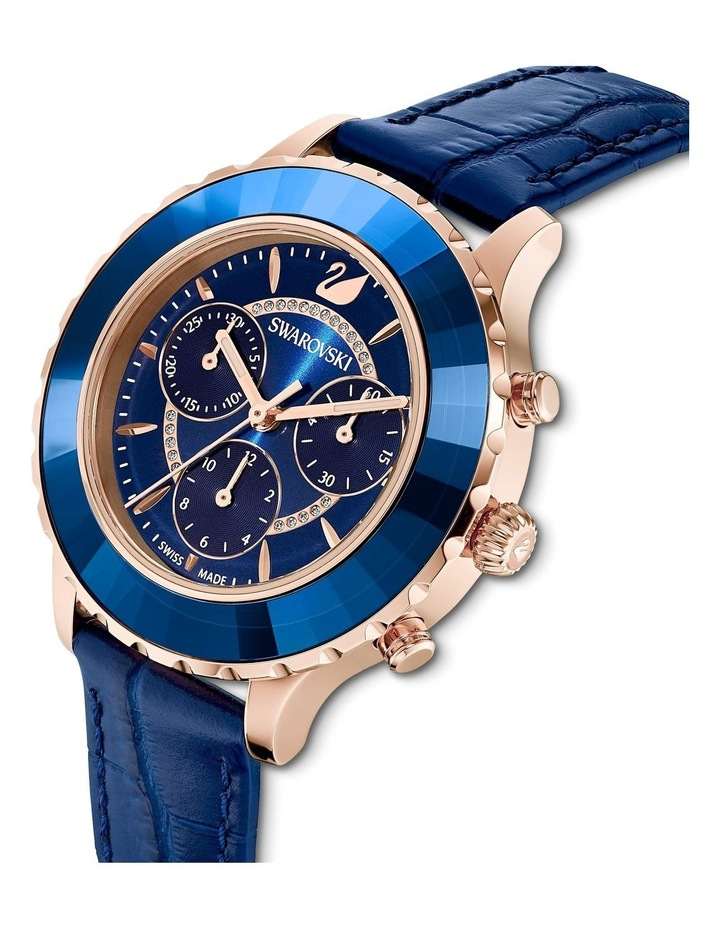Octea Lux Chrono Watch - Leather Strap - Blue - Rose-gold Tone Pvd image 4