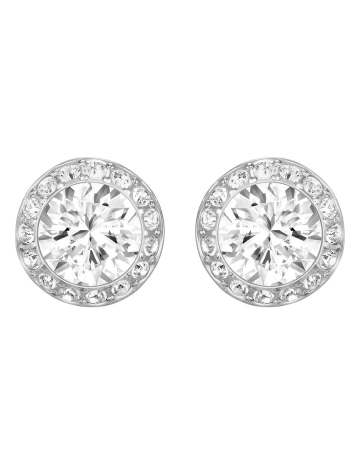 Angelic Pierced Earrings - White - Rhodium Plated image 1