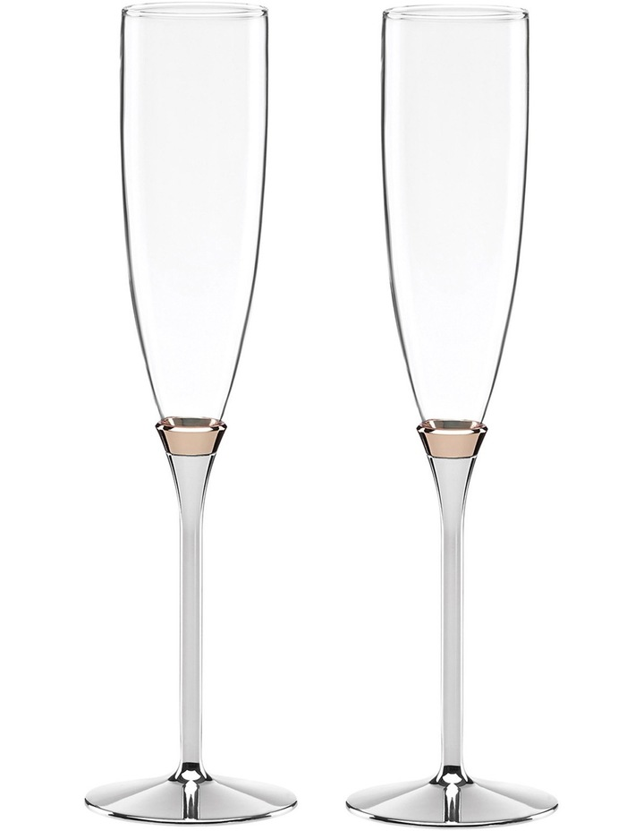 Rosy Glow Toasting Flute Pair image 1