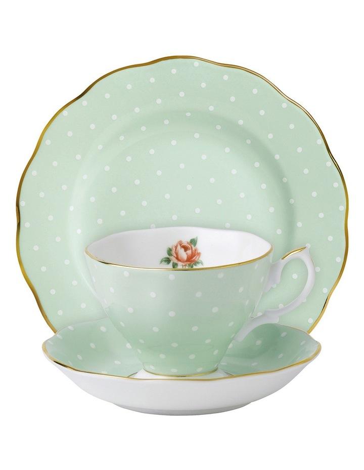Polka Rose Teacup Saucer & Plate Set image 1