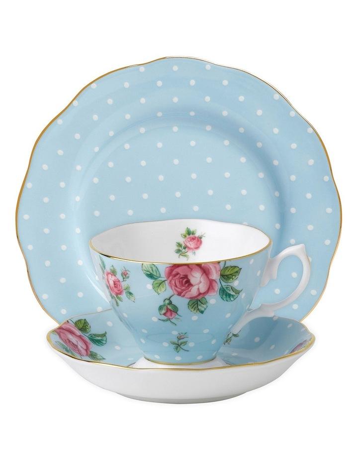 Polka Blue Teacup Saucer & Plate Set image 1
