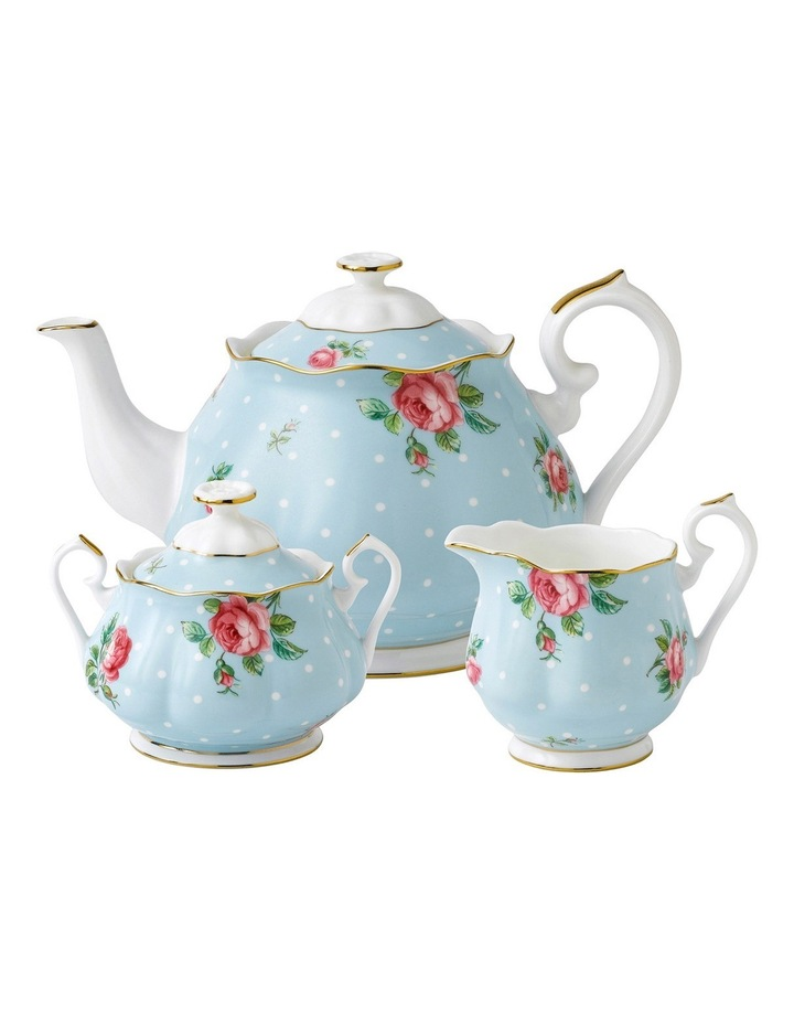 Polka Blue Teapot Sugar & Creamer Set image 1