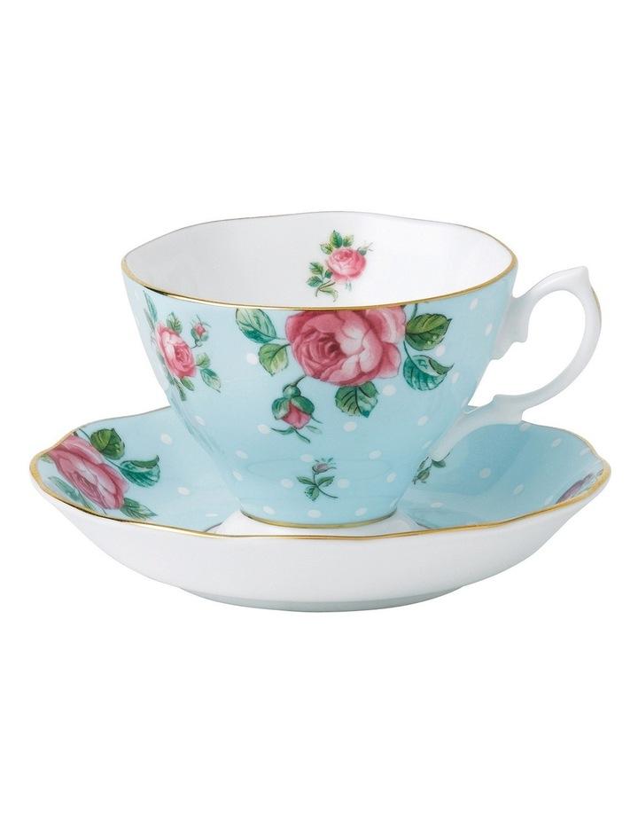 Polka Blue Teacup & Saucer image 1