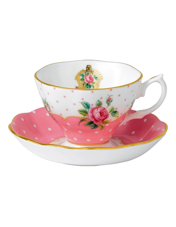 Cheeky Pink Teacup & Saucer in White image 1