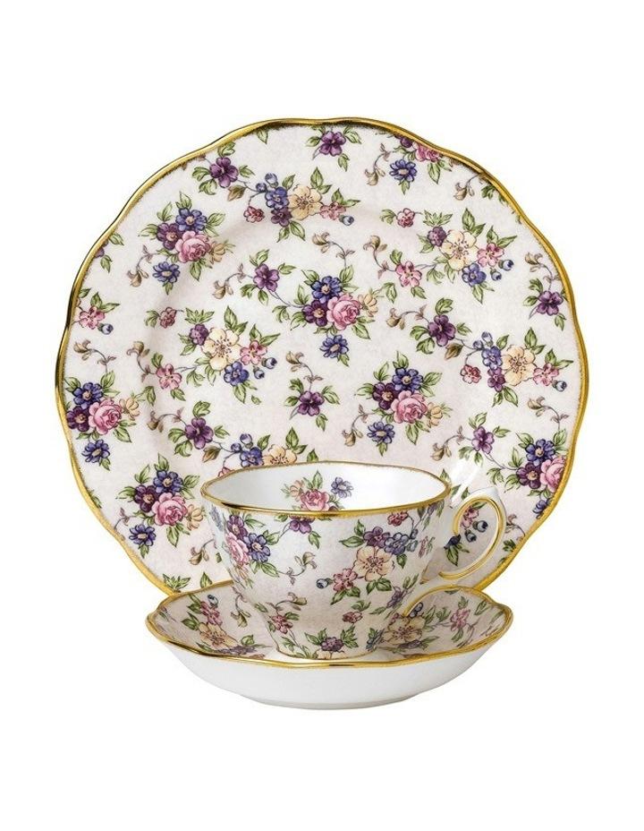 English Chintz 1940 Teacup Saucer Plate image 1