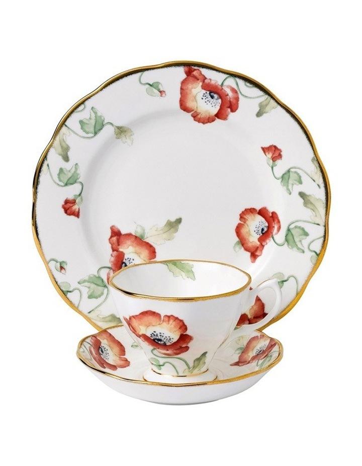 Poppy 1970 Teacup Saucer & Plate image 1