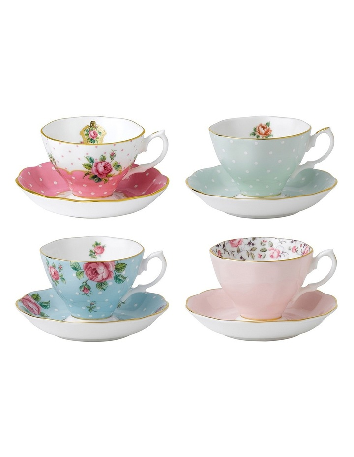 Vintage Mix Teacups & Saucers (Set of 4) image 1