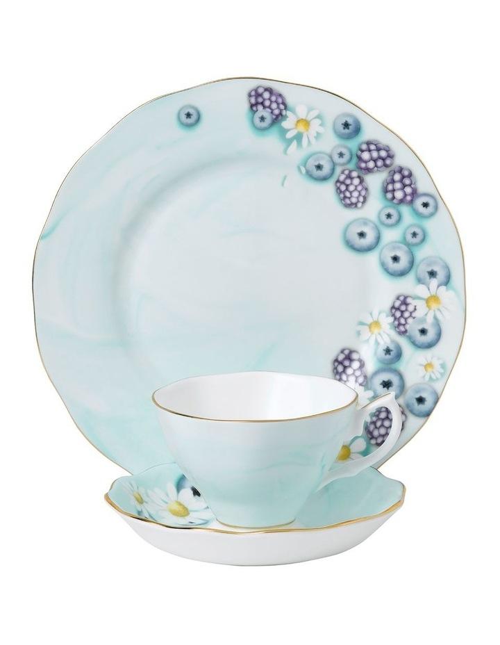 Alpha Foodie Blue Teacup, Saucer & Plate image 1