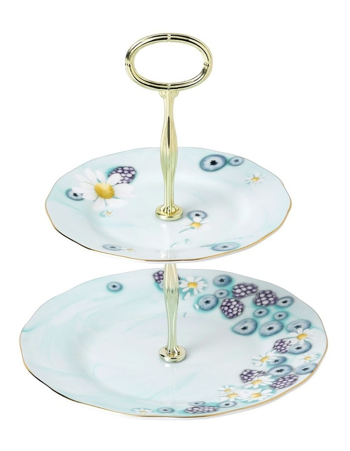 Alpha Foodie Blue 2 Tier Cake Stand image 1