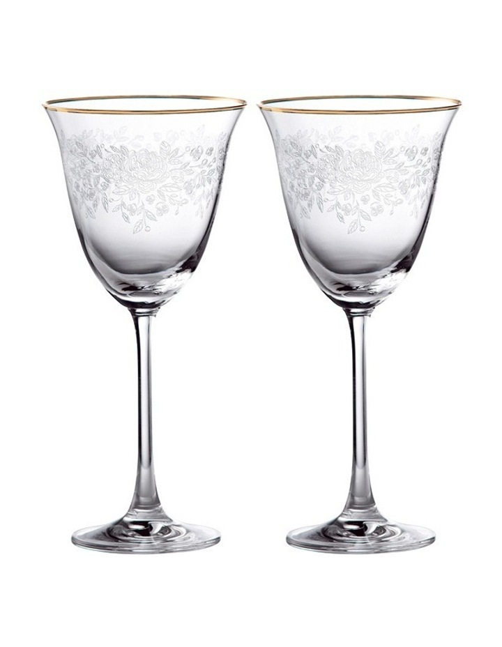 Old Country Roses Wine Pair Gold Rim image 1