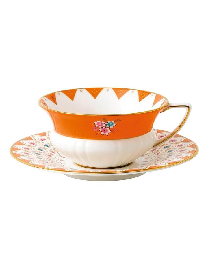 Wonderlust Peony Diamond Teacup & Saucer image 1