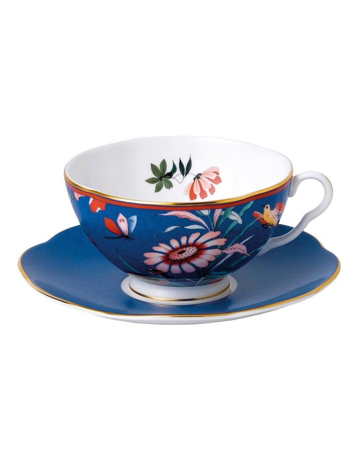 Paeonia Blush Teacup & Saucer Blue image 1