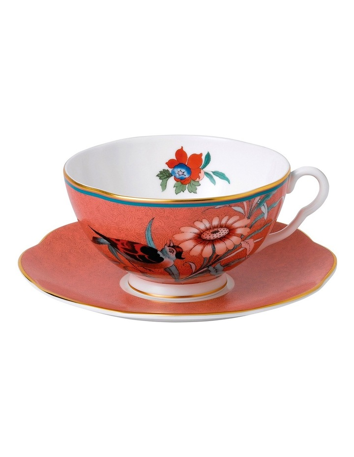 Paeonia Blush Teacup & Saucer Coral image 1