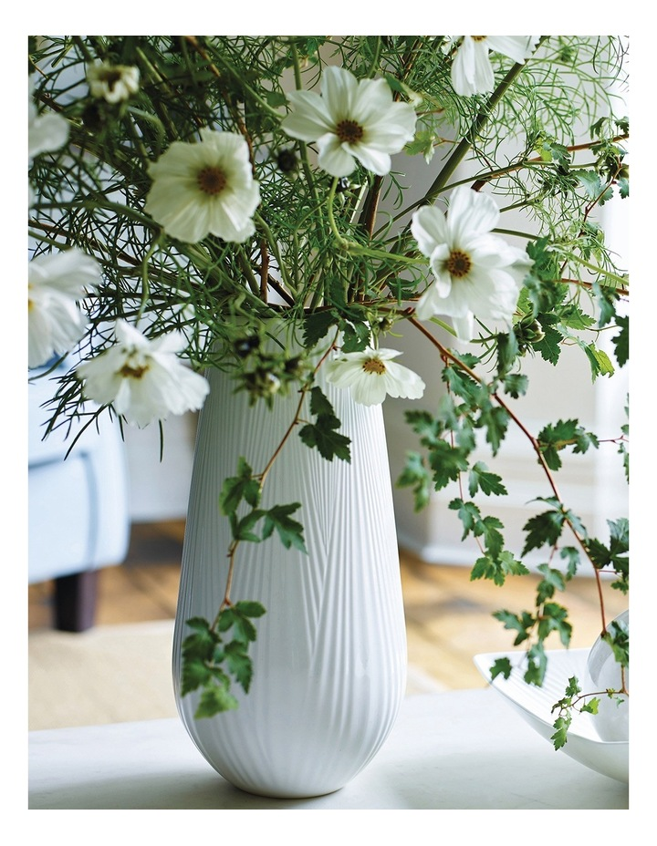 Folia 30cm Fine Bone China Tall Vase in White image 2