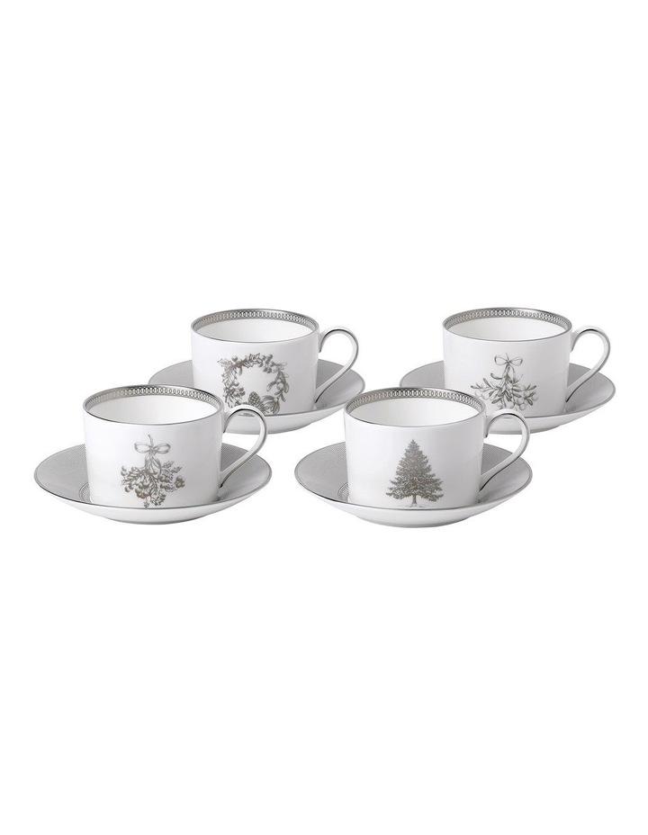 Christmas Teacup & Saucer Set of 4 image 1