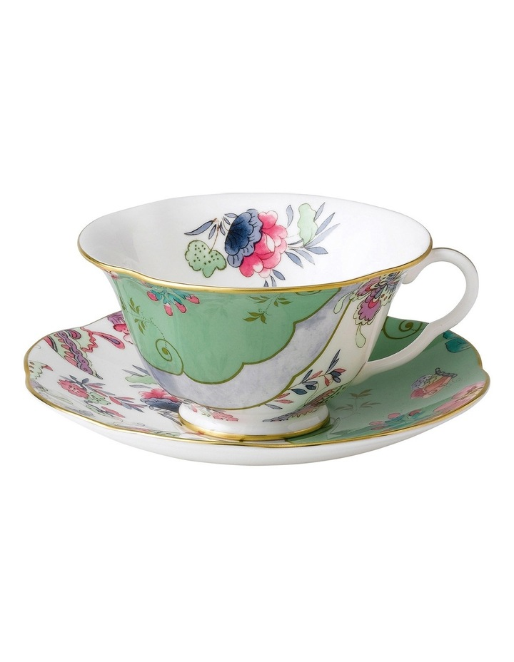 Butterfly Bloom Teacup & Saucer Green image 1