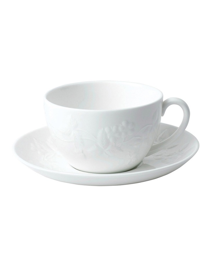 Wild Strawberry White Teacup & Saucer image 1