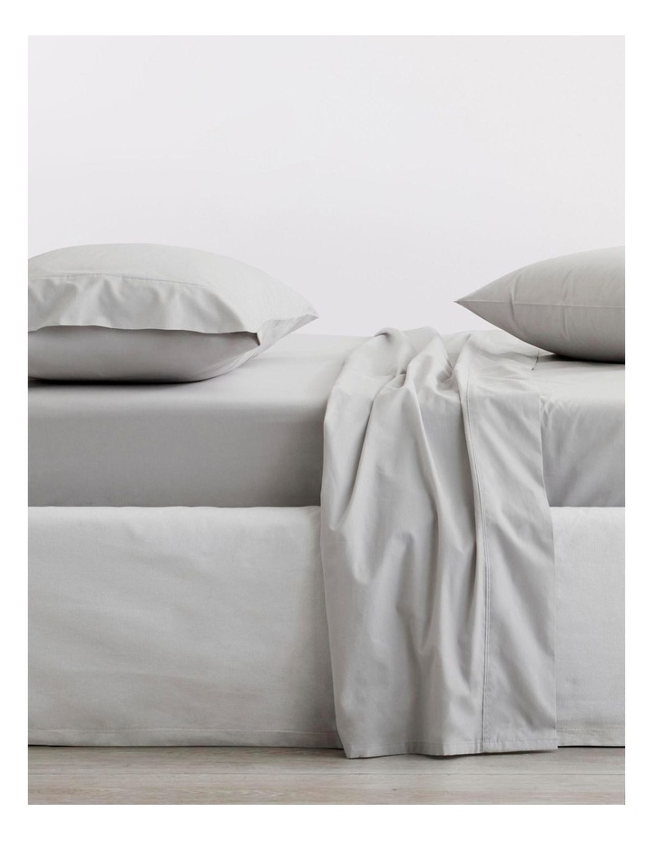 Organic Cotton Percale 300TC Fitted Sheet in Dove image 1