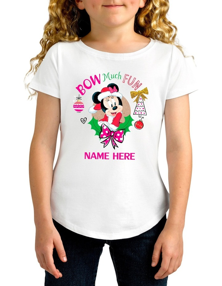 Personalised Disney Kids Minnie Bow Christmas T-Shirt image 1