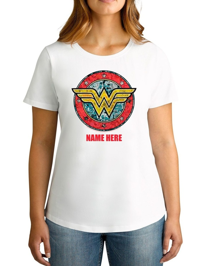 Women's DC Wonder Woman Vintage Logo Personalised Cotton T-Shirt image 1