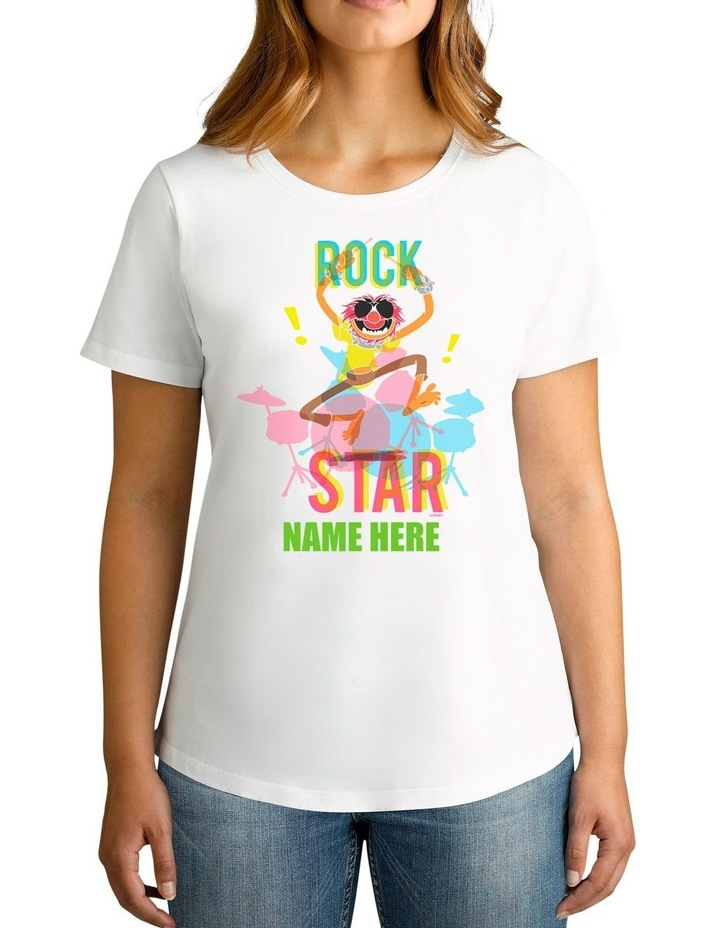 Women's Disney The Muppets Animal Rock Star Personalised Cotton T-Shirt image 1