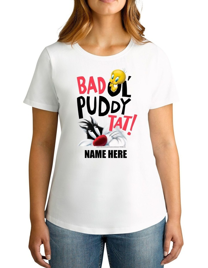 Women's Looney Tunes Tweety & Sylvester Bad Puddy Tat Personalised Cotton T-Shirt image 1